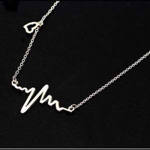 Stainless Steel EKG Heartbeat Necklace.